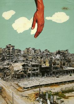Internal Landscape.  Surreal Mixed Media Collage Art By Ayham Jabr.
