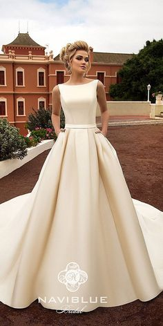 Wonderful Perfect Wedding Dress For The Bride Ideas. Ineffable Perfect Wedding Dress For The Bride Ideas. Simple Wedding Gowns, Wedding Dress With Pockets, Elegant Wedding Dress, Bridal Wedding Dresses, Dream Wedding Dresses, Wedding Ideas, Modest Wedding, Trendy Wedding, Champagne Wedding Dresses