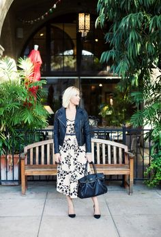 Fall outfit- leather moto jacket and leopoard maxi-Kacee from Life with Lipstick On