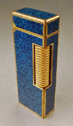 866d58192 DUNHILL ENAMEL ROLLAGAS Lighter Blue Marbled Laquerand Gold plated 1960's  Switzerland signed