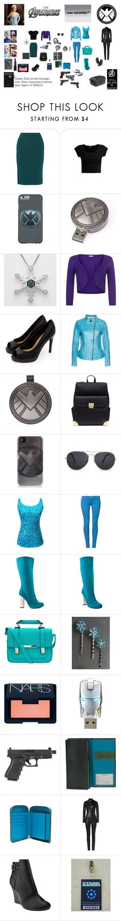 """""""Queen Elsa becomes The Unexpected Avenger, the Snow Queen; later becomes a new inventor at Stark Industries and eventually an Agent of SHIELD"""" by konekogakusei ❤ liked on Polyvore featuring Oscar de la Renta, Plantronics, Marvel, Precis Petite, Milestone, MANGO, Wrangler, Michael Antonio, Once Upon a Time and Disney"""