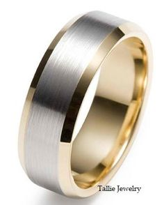 Mens 10K White and Yellow Gold Wedding Band Ring 8MM Wide  Sizes 4-12  Free Engraving  New