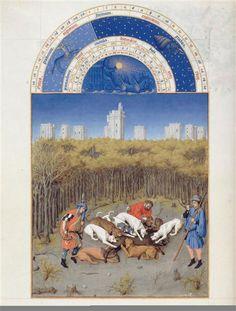 Le mois de décembre. Jean et Hermann Limbourg. Les Très Riches Heures du duc de Berry (1411-1416) le Calendrier.