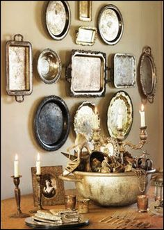 A silver tray wall gallery is a cottage cozy way of displaying your family silver or vintage finds.