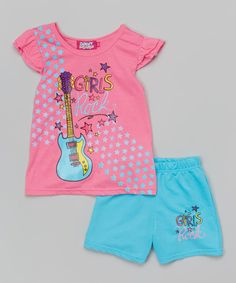 Look at this Pink 'Girls Rock' Tee & Shorts - Infant, Toddler & Girls on #zulily today!