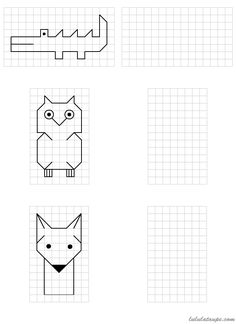 Simple drawings to reproduce on grid School MATHEMATIC HISTORY Mathematics is one of the oldest sciences … Graph Paper Drawings, Graph Paper Art, Easy Drawings, Math For Kids, Blackwork, Mathematics, Kids Learning, Pixel Art, Worksheets
