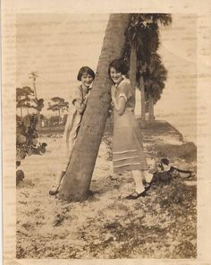 Sisters at the Beach, Vintage Photographs, Sepia Colored Photo, Vernacular Snapshot, 1920's Fashion, Girls Posing by the Shore, Fun Sun Sand by BettywasaBombshell on Etsy