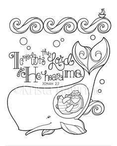 Jonah and the Whale coloring page 8.5X11, Bible journaling tip-in 6X8 by KristaHamrick on Etsy https://www.etsy.com/listing/567572479/jonah-and-the-whale-coloring-page-85x11
