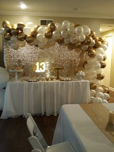 White and gold party 14th Birthday Party Ideas, Birthday Decorations At Home, Gold Birthday Party, Golden Birthday, Sweet 16 Party Themes, Sweet 16 Party Decorations, Theme Ideas, Wedding, Creative Birthday Cakes