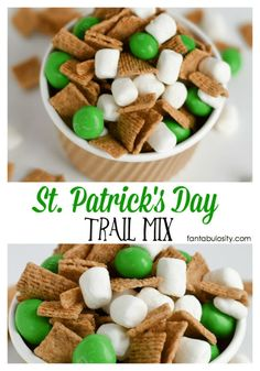 Patrick's Day Trail Mix - Green Snacks Ideas - This looks so easy! Patrick's Day Trail Mix - St Patrick Day Snacks, St Patricks Day Food, Saint Patricks, St Patricks Day Snacks For School, Snack Mix Recipes, Dessert Recipes, Snack Mixes, Party Desserts, Party Snacks