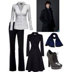 The tapered waistline of shirt and coat give that hourglass shape. The V-neck of shirt adds to that effect. Smart is sexy!