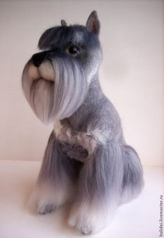 Toy animals, handmade. felted miniature schnauzer Ursula. Zoya choline. Arts and crafts fair. Author's work, a toy made of felt