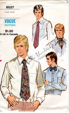 1970s Men's Ascot Bow Tie & Tie Pattern - Vintage Vogue 8037 - UNCUT by ErikawithaK on Etsy