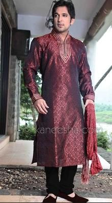 Deep Maroon Jacquard Silk Men's Kurta Set