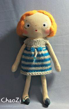 super cute handmade doll, love her sweet face and hair #handmade doll #rag doll
