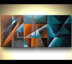 Geometric Art Contemporary Abstract Painting Teal door OsnatFineArt, $780.00
