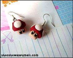 Mario mushroom earrings