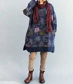 Fashion cotton dress/ large size long shirt / T-shirt by MaLieb