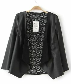 Black Long Sleeve Leather Contrast Hollow Lace Coat