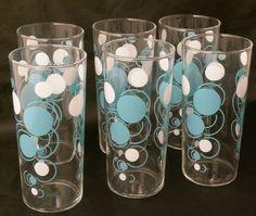 Retro drinking glasses vintage blue white polka dot bar set mid century modern bar ware set of 6 glasses. $69.99, via Etsy.
