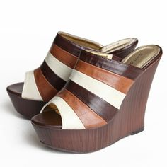 """Striped Revolution Wedges 36.99 at shopruche.com. These chic wedges feature stripes in white and shades of brown over a faux wooden platform wedge. Footpad slightly cushioned.  All man-made materials Heel Height: 5"""" Platform Height: approx. 1.5"""" Runs half size small"""