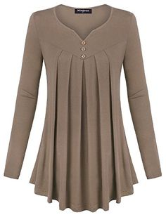 Miagooo Women Flowy Tops, Women's Long Sleeve Scoop Neck Pleated Front A Line Solid Color Tunic Top Tshirt(Mocha,Medium) Muslim Fashion, Hijab Fashion, Fashion Dresses, Blouse Styles, Blouse Designs, Stil Inspiration, Designs For Dresses, Casual Tops For Women, Ladies Tops