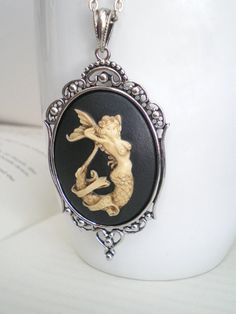 Mermaid Necklace, Cameo Necklace, Beach Jewelry, Costume Jewelry, Ocean Jewelry, Nautical Necklace.