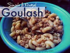 Simple Goulash  2 1/2 cups elbow macaroni 1/2 lb. ground beef 15 oz. can tomato sauce Salt & Pepper to taste  I would add chopped onion and Italian seasoning and tsp of sugar.