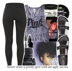 """""""•I like a fat a** and thighs •"""" by babygirl-10 ❤ liked on Polyvore featuring Kobelli, Victoria's Secret PINK, MAC Cosmetics and Nikon"""