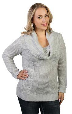 plus size cowl neck sweater with metallic thread