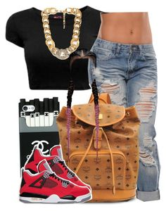 Bish I hope da fck u do !  by trillest-queen on Polyvore featuring polyvore fashion style MCM Forever 21 Retrò clothing