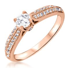Serti, Central, Or Rose, Html, Engagement Rings, Jewelry, Brilliant Diamond, Engagement Ring, White Diamonds