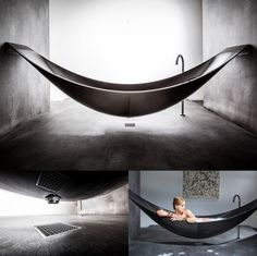 This bathtub is redesigned to mimic the form of a hammock. I've never seen a tub quite like this. The design steers away from tradition and more modern and art-like.