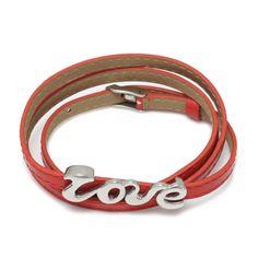 Red Adjustable Leather Bracelet