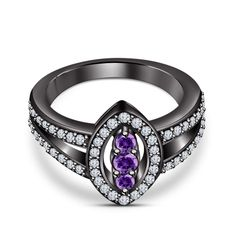 Three-Stone Amethyst+White Diamond Lovely Engagement Wedding Ring 14k B/Gold FN…