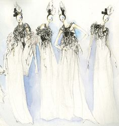 Fashion illustration - couture gowns, watercolour fashion drawing // Myrtle Quillamor