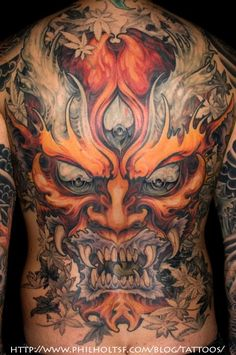 Mask Tattoo Designs And Mask Tattoo Meanings-Mask Tattoo Ideas And Mask Tattoo Pictures Ta Moko Tattoo, Hanya Tattoo, Monster Tattoo, Evil Tattoos, Body Art Tattoos, Asian Tattoos, Trendy Tattoos, Tiger Tattoo Sleeve, Sleeve Tattoos