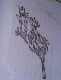 #flame #wolf #drawing