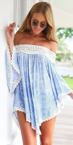 Shop Blue Off the Shoulder Lace Floral Blouse online. SheIn offers Blue Off the Shoulder Lace Floral Blouse & more to fit your fashionable needs. Chic Summer Outfits, Cute Outfits, Summer Dresses, Beach Outfits, Party Dresses, Outfit Beach, Beach Attire, Club Dresses, Dress Party