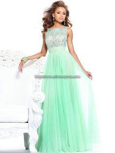 Evening dress in mint green.