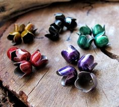Enameled tulip bead caps for earrings making. high quality handmade jewelry supplies.  Personalized Gift for Her Article  Sometimes it's really...