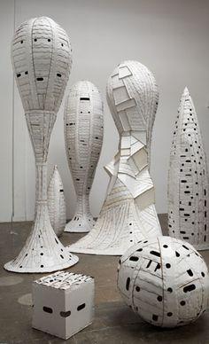 Ann Weber woven cardboard sculpture
