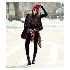 Shirt tied around the waist ❤ liked on Polyvore featuring flannel, inspiration, outfit, plaid and red