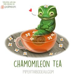 Animal Drawings Daily Paint Chamomileon Tea by Cryptid-Creations - Cute Food Drawings, Cute Animal Drawings, Kawaii Drawings, Cartoon Art, Cute Cartoon, Animal Puns, Animal Food, Dibujos Cute, Kawaii Art