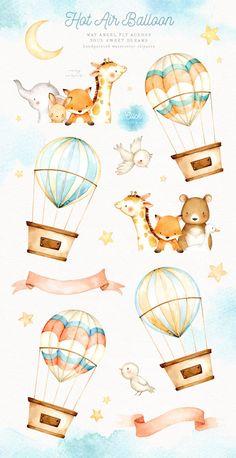 ad: Hot Air Balloon Watercolor Clipart by everysunsun on Ballon Illustration, Cute Illustration, Watercolor Illustration Children, Nursery Art, Nursery Decor, Moon Nursery, Star Clipart, Watercolor Animals