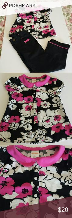 Gymboree Girls Size 4 Matching Set Sweet little black, white and pink, button down the front, Peter Pan collar, floral girls size 4 blouse and matching pink and black, mock button up, elastic back girls size 4T pant. Made by Gymboree, blouse 100% rayon, machine wash cold, gentle cycle, tumble dry low, cool iron if needed; pant 100% cotton, machine wash cold, tumble dry low, warm iron as needed. Sweet set, rarely worn...my daughter simply prefers dresses and skirts. :)   See matching floral…