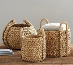 Beachcomber Round Handled Baskets #coastaldecor