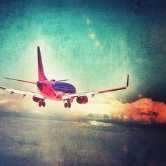 Southwest Airlines B737 landing at McCarran International Airport.