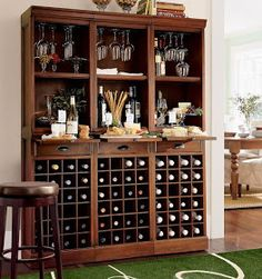 Modular Bar System with 1 Wine Hutch & 2 Open Hutch Wine And Liquor Cabinets, Wine Hutch, Home Wet Bar, Bars For Home, Media Room Design, Interior Design Living Room, Wine Rack Storage, Home Bar Designs, Wall Bar