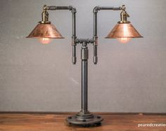 Vintage Table Lamp - Industrial Style - Iron Piping - Copper Shade - Steampunk Furniture - Rustic Decor - Model No. Copper Floor Lamp, Industrial Floor Lamps, Industrial Style, Industrial Furniture, Industrial Pipe, Industrial Lighting, Country Lamps, Wooden Lampshade, Diy Lampshade